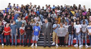 Virginia Governor Terry McAuliffe with Sussex Central Middle School Students